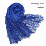 Peacock Popular lace edges scarf hijab woman plain maxi shawl wrap flower white lace foulard soft cotton Muslim hijabs scarfs