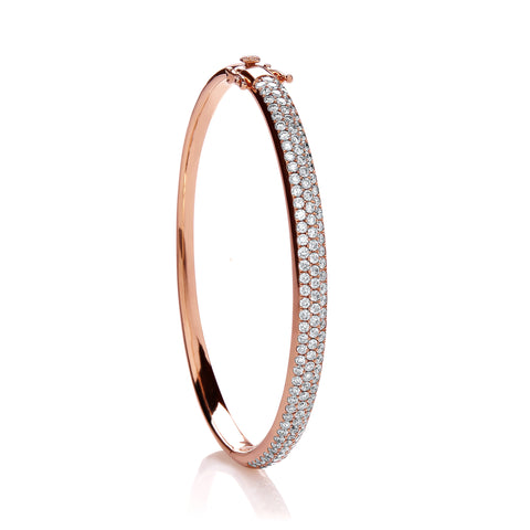 18ct Rose Gold 3.00ctw Pave Set Diamond Bangle