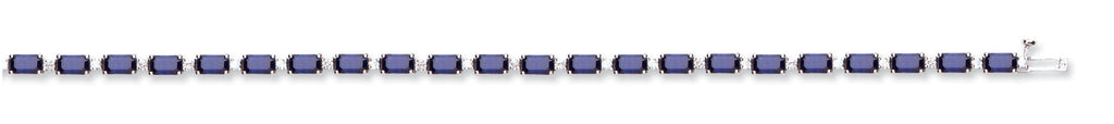 18ct White Gold 0.55ct Diamond & 9.80ct Sapphire Bracelet