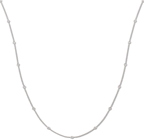18ct White Gold 1.00ct Rubover Diamond Chain (36in/91cm)