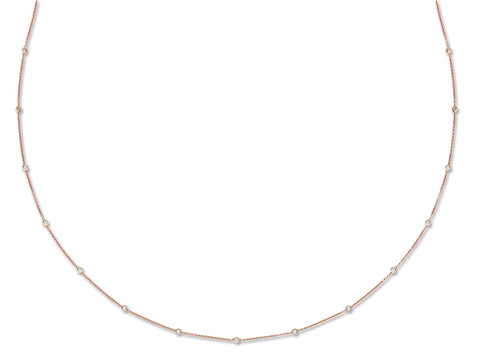 18ct Rose Gold 1.00ct Rubover Diamond Chain (36in/91cm)