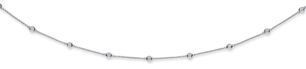 18ct White Gold 1.00ct Rubover Diamond Chain (18in/45cm)