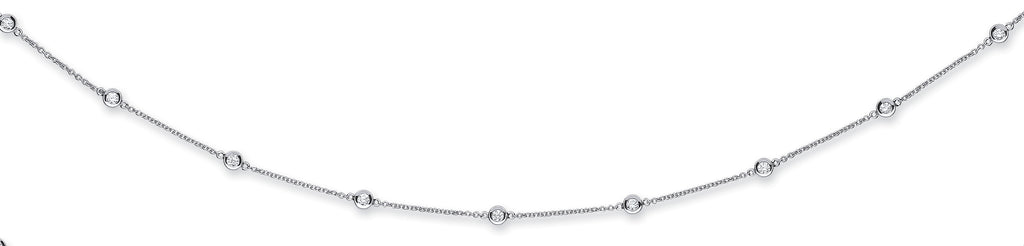 18ct White Gold 2.00ct Rubover Diamond Chain (36in/91cm)