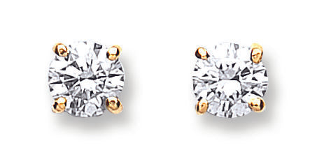 18ct Yellow Gold 0.70ct Claw Set Diamond Stud Earrings