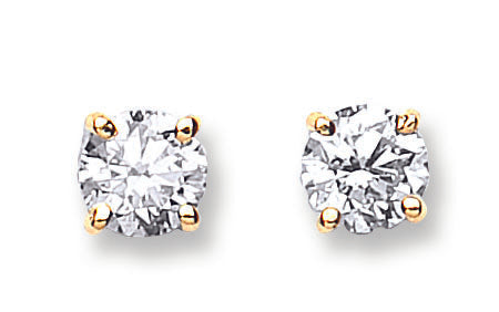 18ct Yellow Gold 1.00ct Claw Set Diamond Stud Earrings