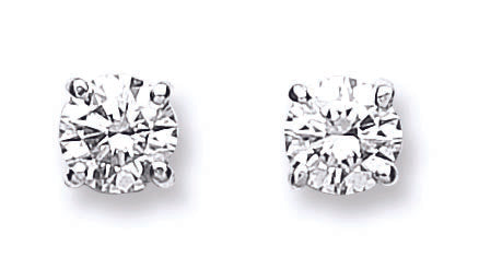18ct White Gold 0.70ct Claw Set Diamond Stud Earrings
