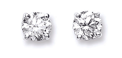 18ct White Gold 1.00ct Claw Set Diamond Stud Earrings