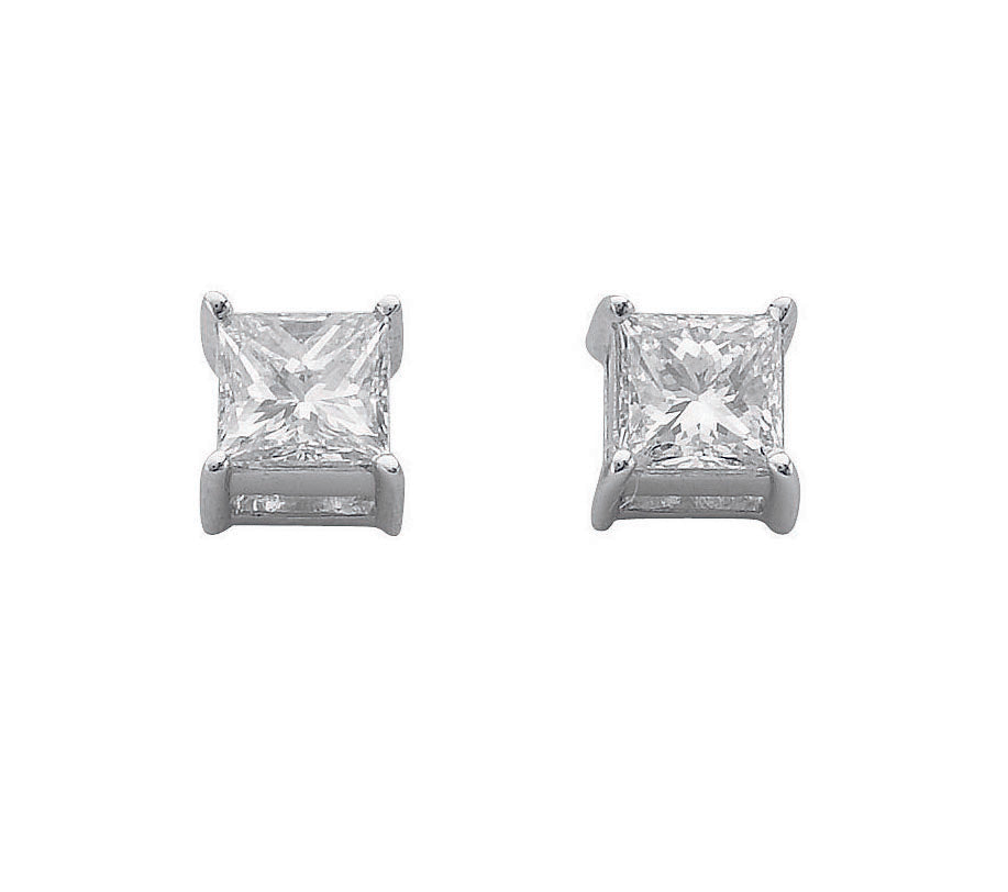 18ct White Gold 0.50ct Claw Set H/VS Princess Cut Diamond Stud Earrings