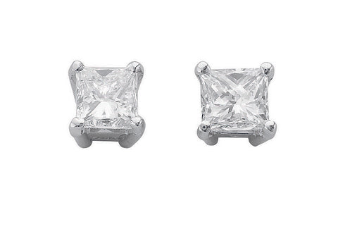 18ct White Gold 1.00ct Claw Set Princess Cut Diamond Stud Earrings