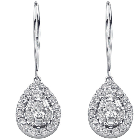 18ct White Gold 1.70ct Diamond Drop Earrings