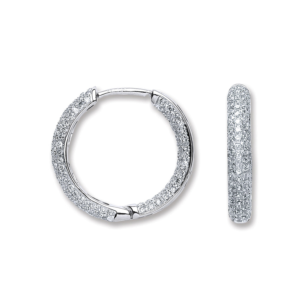 18ct White Gold 1.33ct Diamond Hoop Earrings