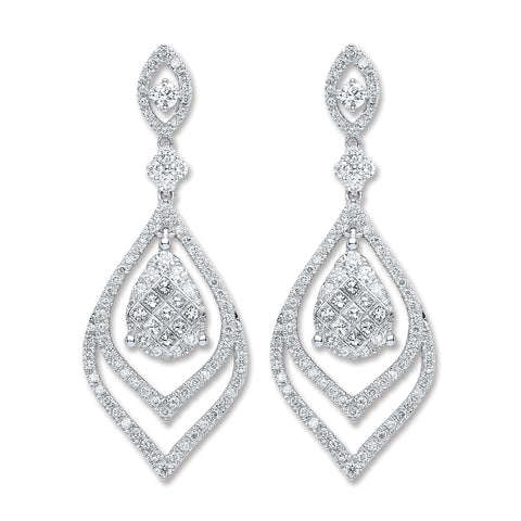 18ct White Gold 2.00ct Dia Drop Earrings