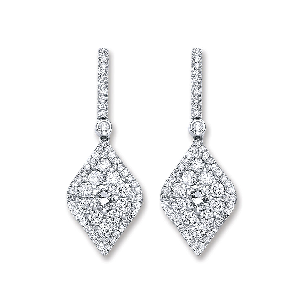18ct White Gold 1.50ct Dia Drop Earrings