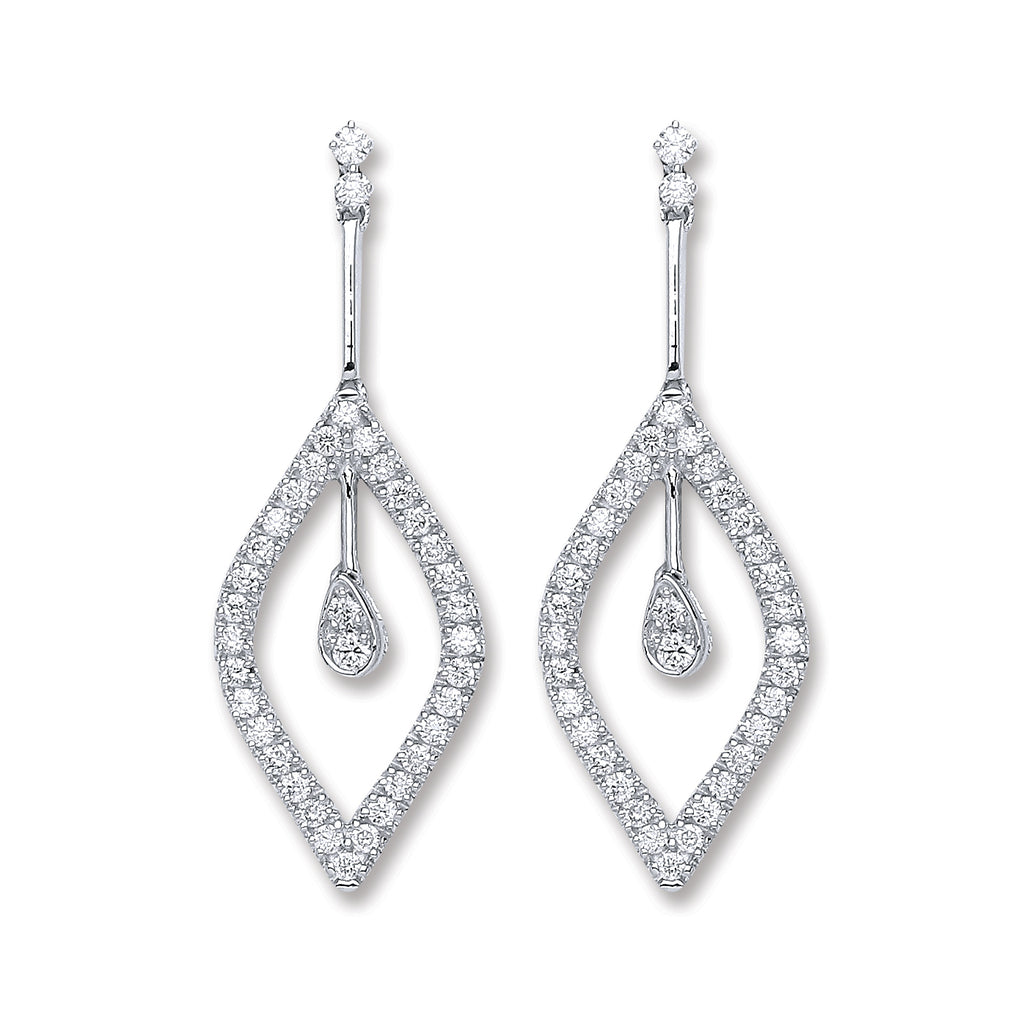18ct White Gold 0.80ct Dia Drop Earrings