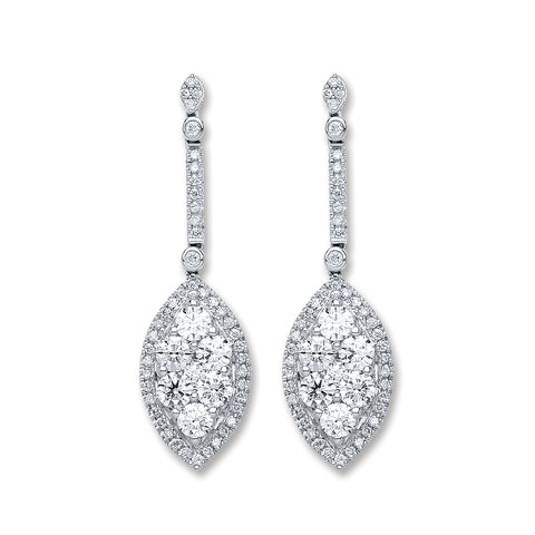18ct White Gold 2.50ct Dia Drop Earrings