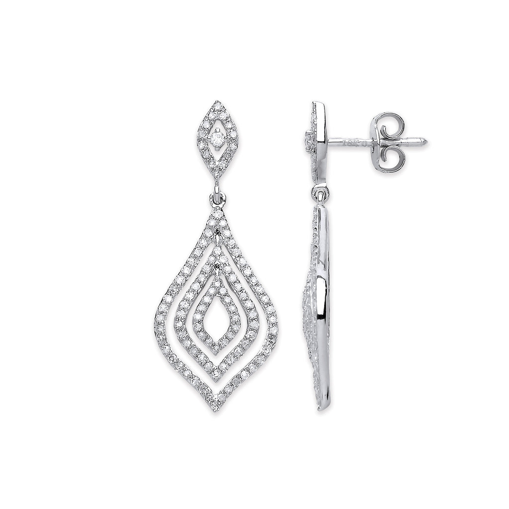 18ct White Gold 0.75ct Dia Drop Earrings