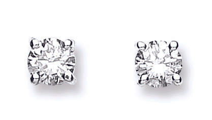 18ct White Gold 0.61ctw Claw Set Diamond Stud Earrings