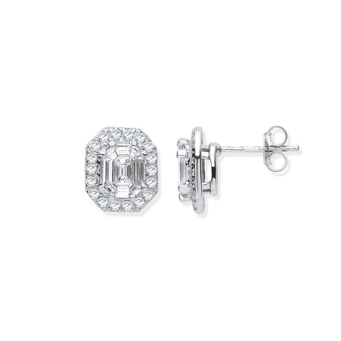 18ct WG Rd. Baguettes & Emerald Centre 1.40ctw Diamond Studs