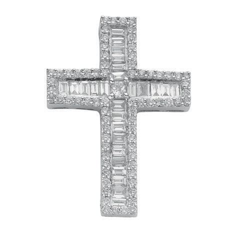 18ct White Gold 1.35ct Brilliant, Princess & Baguette Diamond Cross