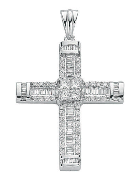 18ct White Gold 1.52ct Brilliant, Princess & Baguette Diamond Cross