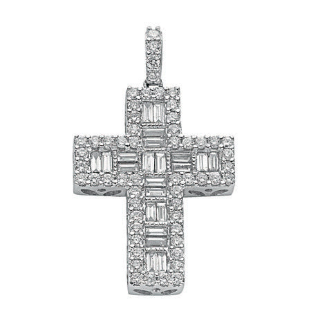 18ct White Gold 1.02ct Brilliant & Baguette Diamond Cross