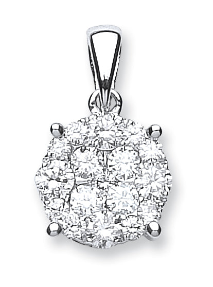 18ct White Gold 1.00ct Diamond Cluster Pendant