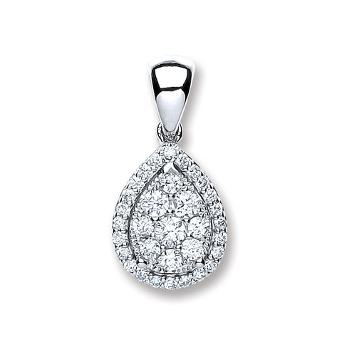 18ct White Gold 0.40ct Diamond Pear Sh Pendant