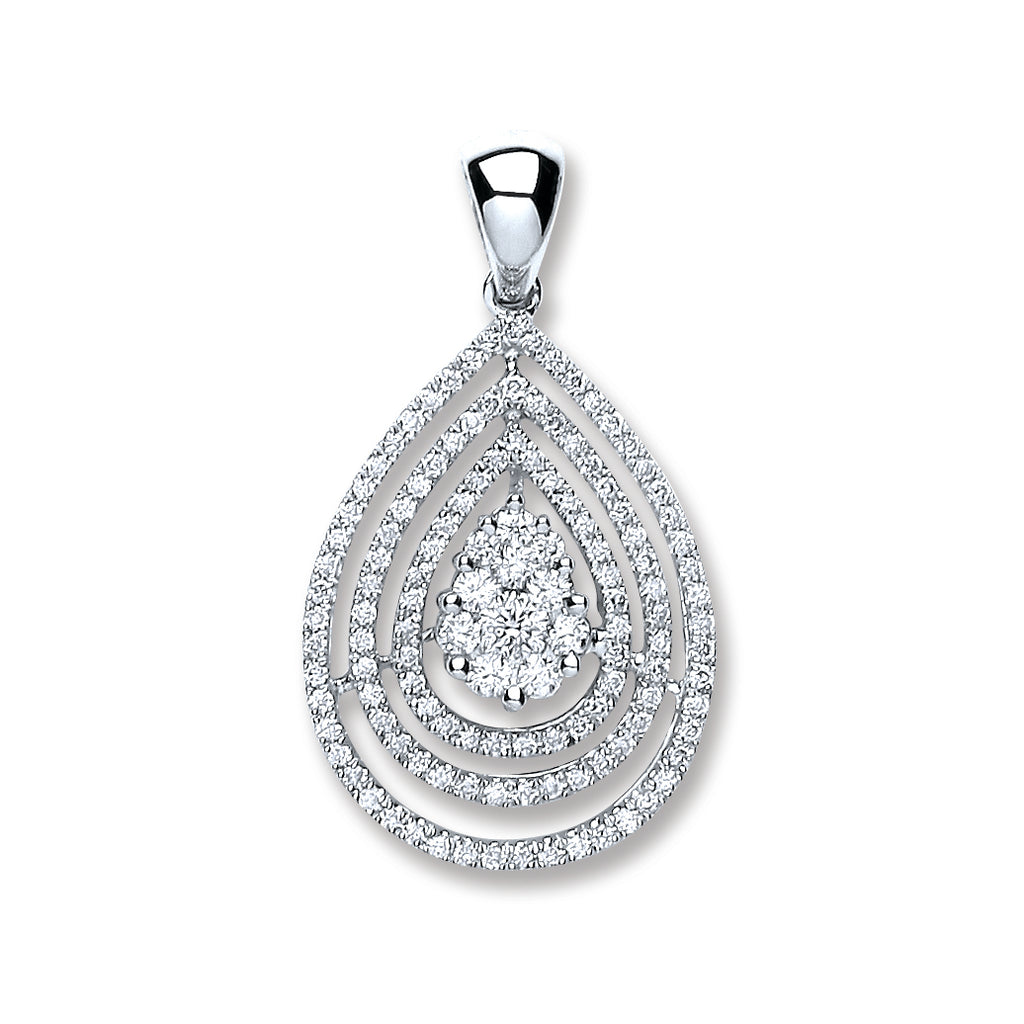 18ct White Gold 0.60ct Diamond Drop Pendant