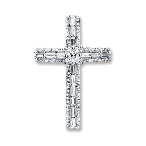 18ct White Gold 1.00ct Baguette & Brilliant Cut Diamond Cross Pendant