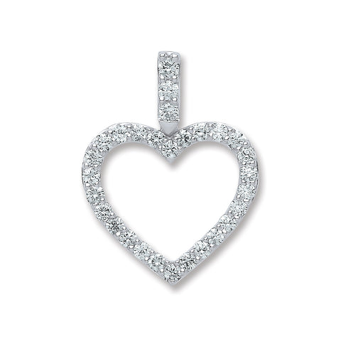 18ct White Gold 0.60ct H-SI Diamond Drop Heart Pendant