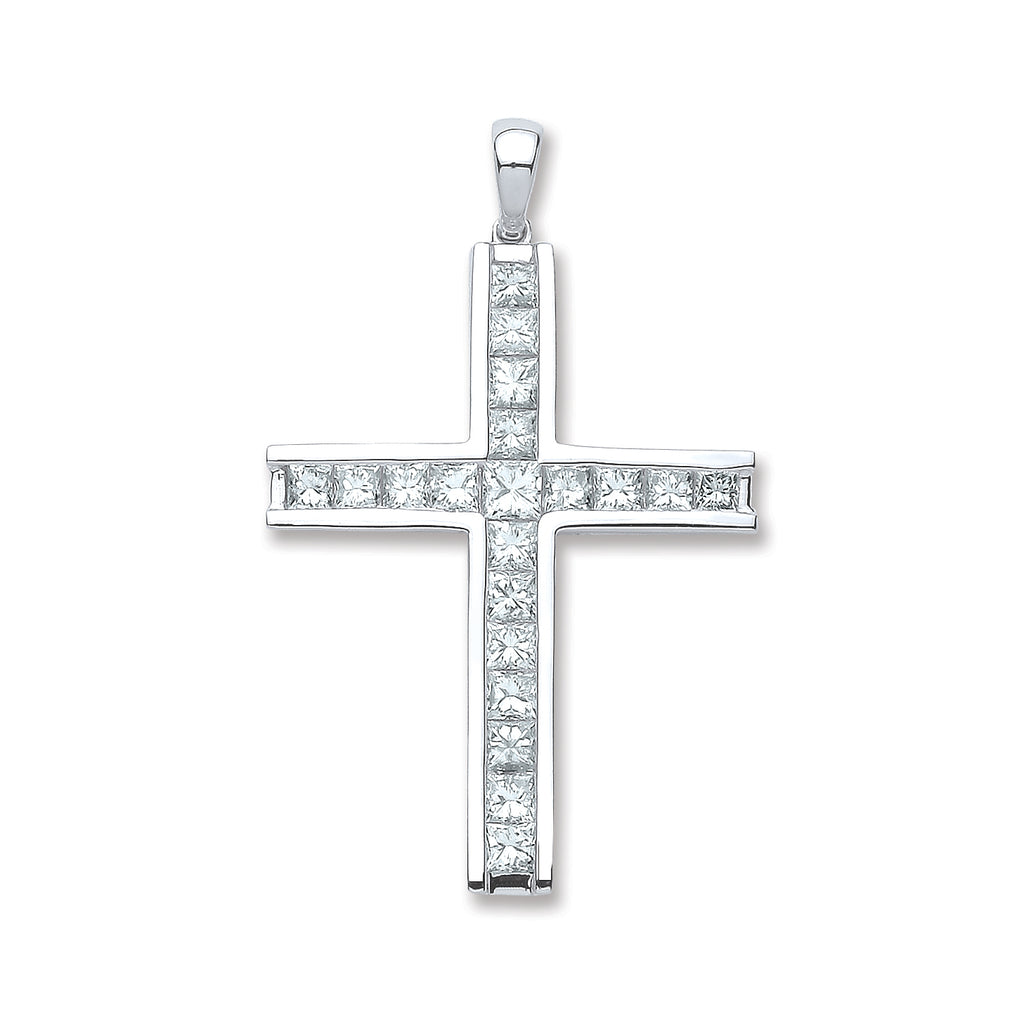 18ct White Gold 1.17ct Princess Cut Diamond Cross