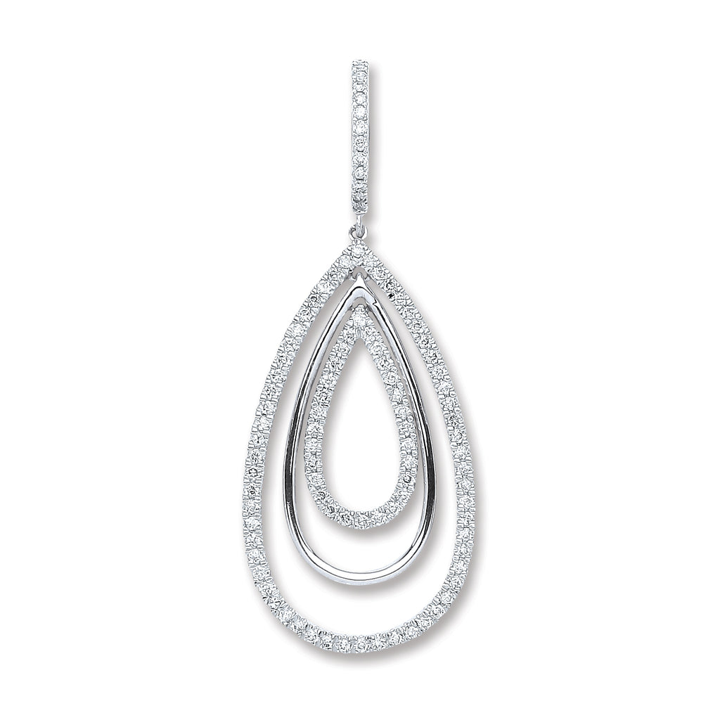 18ct White Gold 0.50ct Diamond Drop Pendant