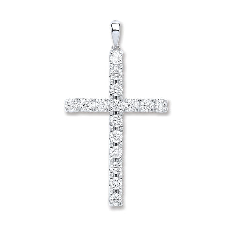 18ct White Gold 1.70ct Diamond Cross Pendant