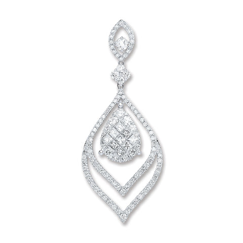 18ct White Gold 1.60ct Diamond Drop Pendant