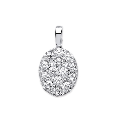 18ct White Gold Oval 0.75ct Pave Pendant