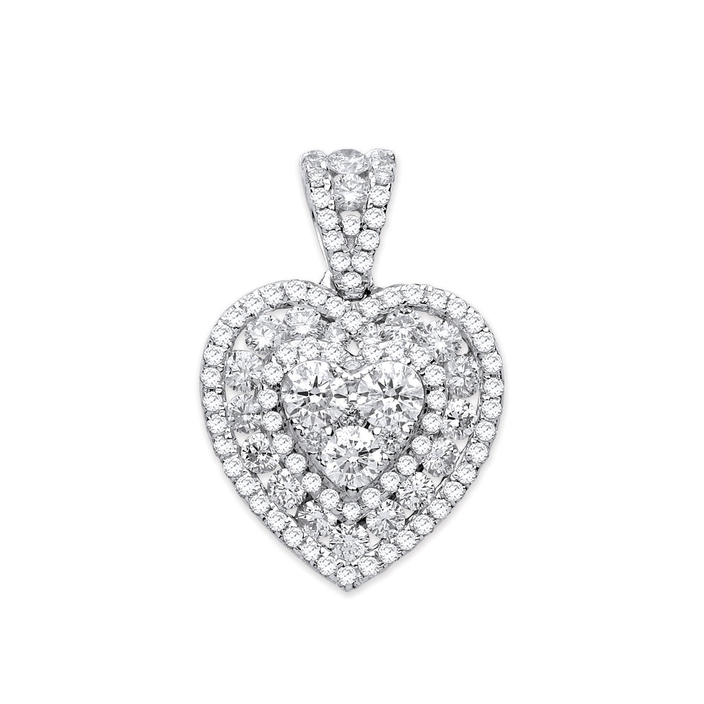 18ct White Gold 1.35ct Heart Pave Pendant