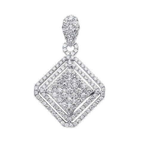 18ct White Gold 2.00ct Square Pendant