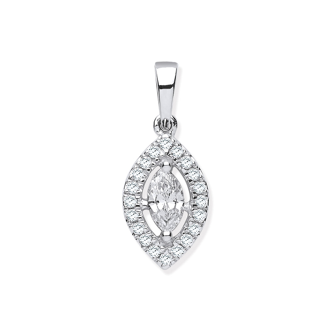 18ct White Gold 0.40ct Marquise Shaped Diamond Pendant