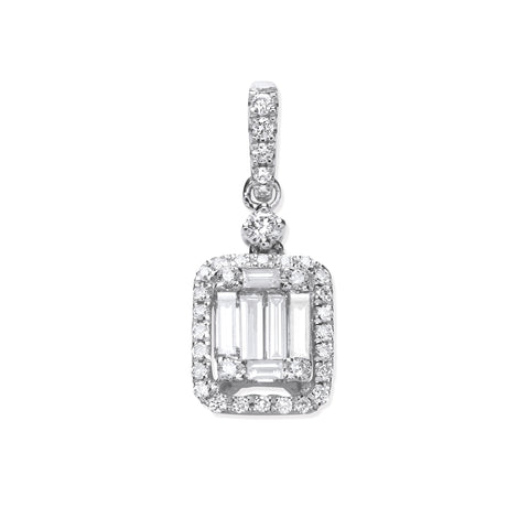 18ct White Gold 0.40ct Baguette & Brilliant Cut Diamond Rectangle Halo Pendant