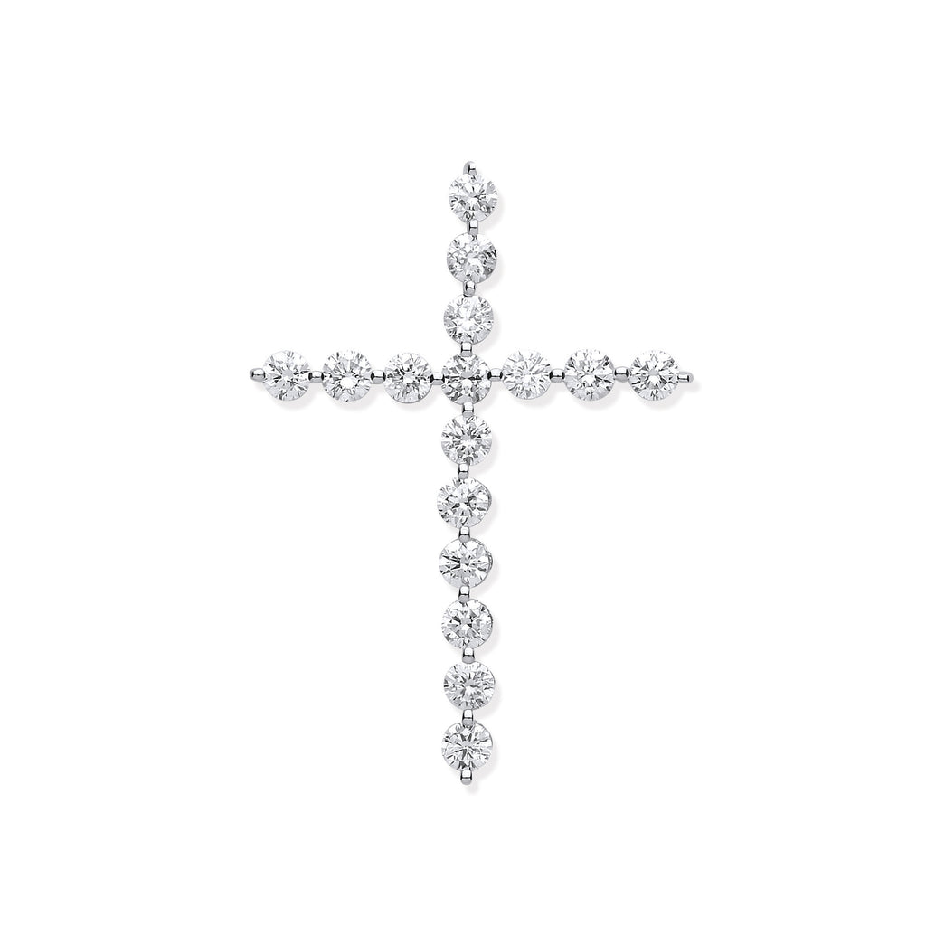 18ct White Gold 0.75ct Diamond Cross