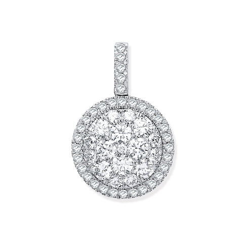 18ct White Gold 1.13ctw Round Drop Pendant