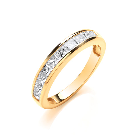 18ct Yellow Gold 1.00ctw Princess Cut Diamond Eternity Ring