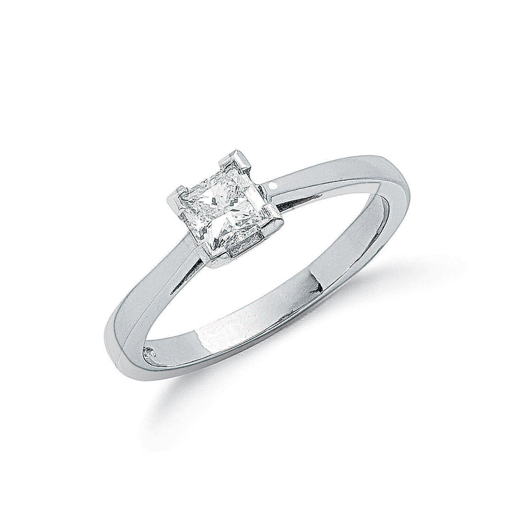 Platinum 0.50ct G/H-Si Princess Cut Diamond Engagement Ring