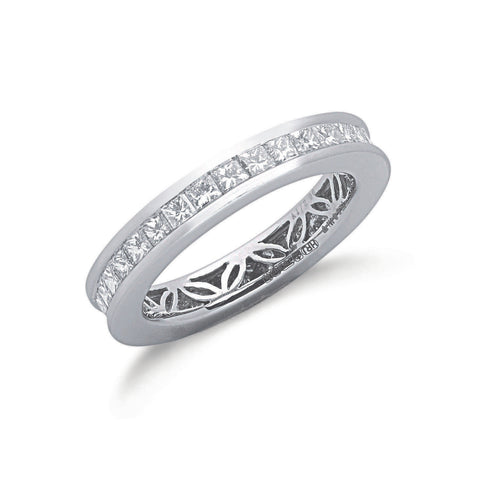 18ct White Gold 2.00ct Princess Cut Full Diamond Eternity Ring