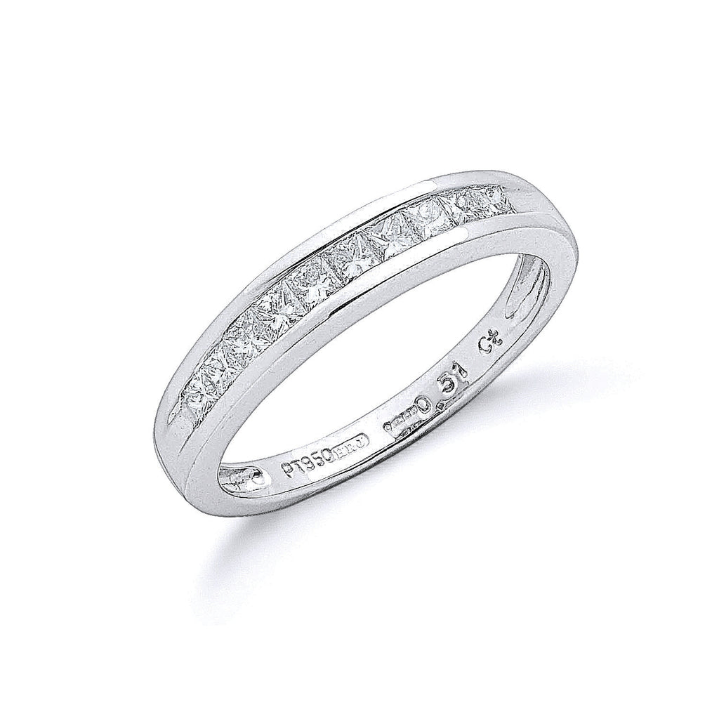 Platinum 0.50ct G/H-Vs Princess Cut Eternity Diamond Ring