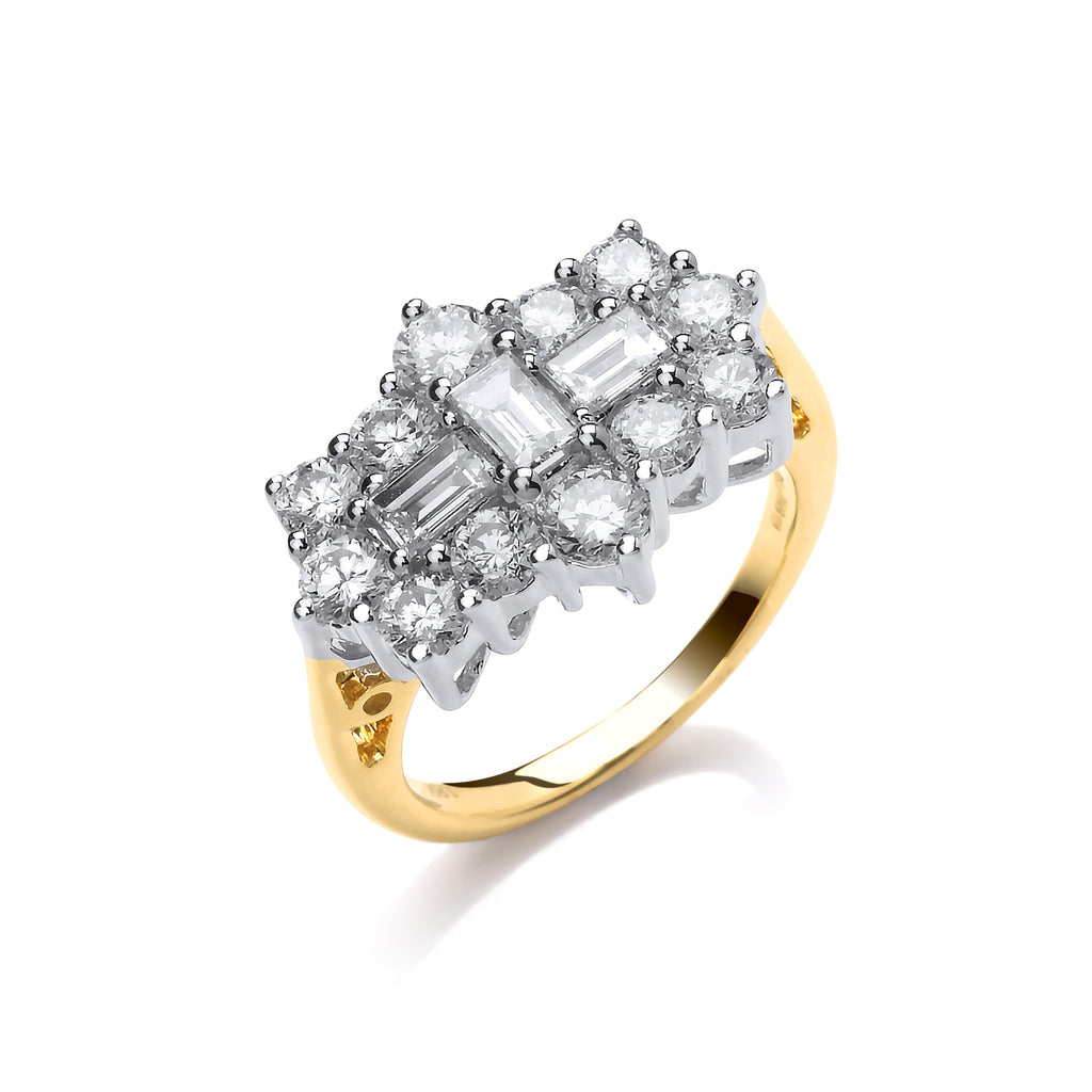 18ct Yellow Gold 2.00ctw Diamond Boat/Cluster Ring