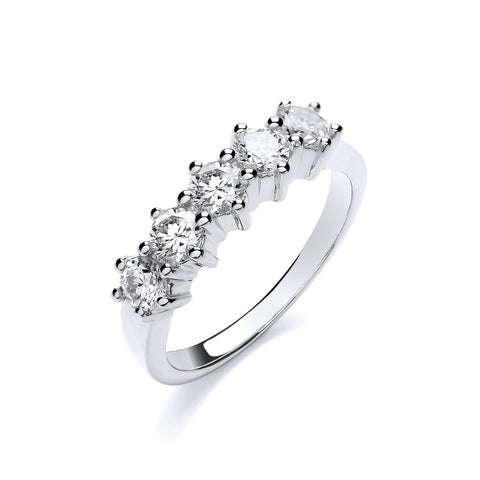 18ct White Gold 1.00ct 5 Stone Diamond Eternity Ring