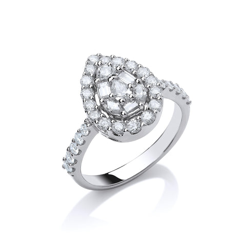18ct W/G 1.00ct Pear Shaped Diamond Ring