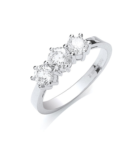 Platinum 1.00ct G/H-Vs Brilliant Cut Diamond Trilogy Ring