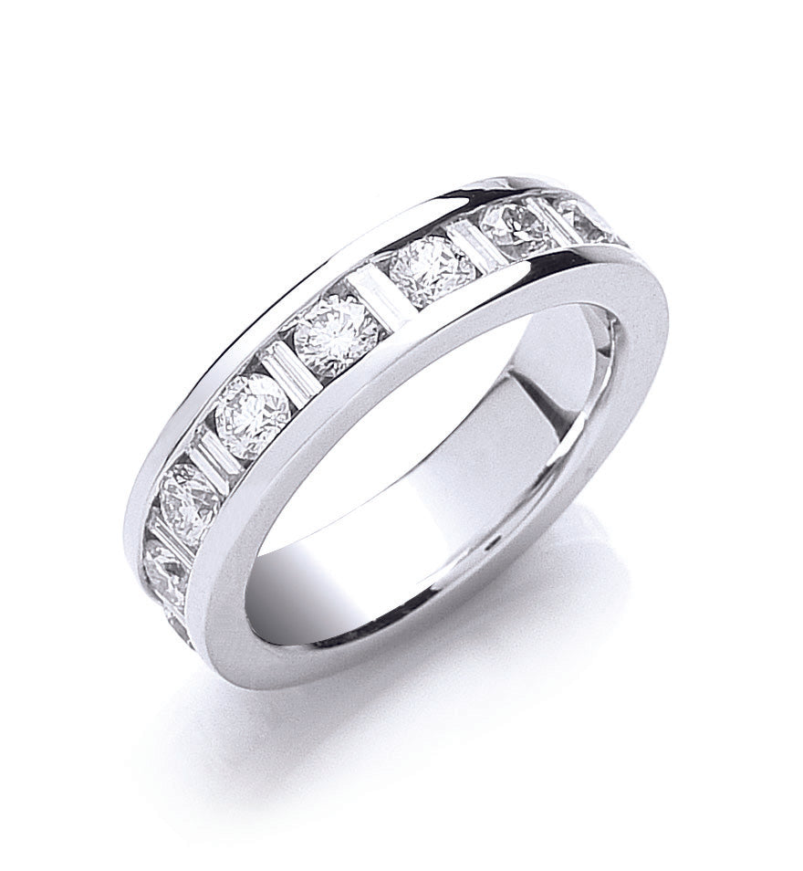 18ct White Gold 2.00ct Brilliant & Baguette Full Eternity Ring